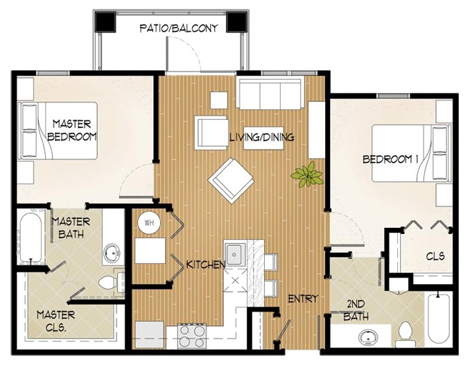 Central Park at Winstar Village Apartments - Floorplan - Two Bed/Two Bath A