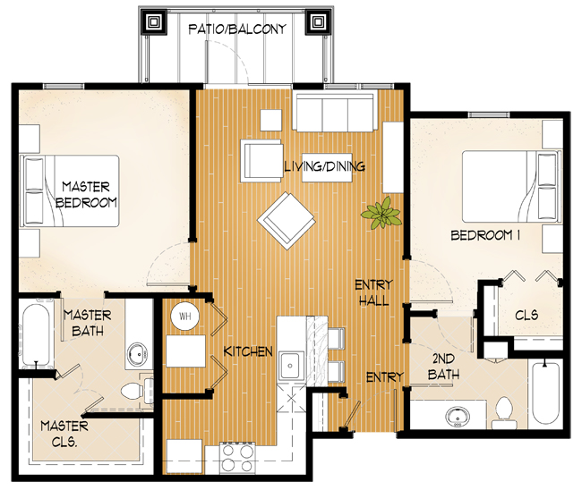 Central Park at Winstar Village Apartments - Floorplan - Two Bed/Two Bath B