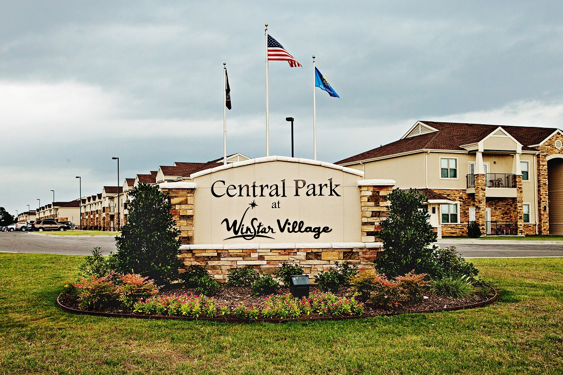 Welcome Sign at the Central Park at Winstar Village Apartments in Thackerville, OK