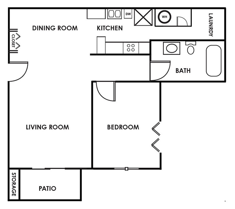 Woodbury Heights - Floorplan - One Bedroom