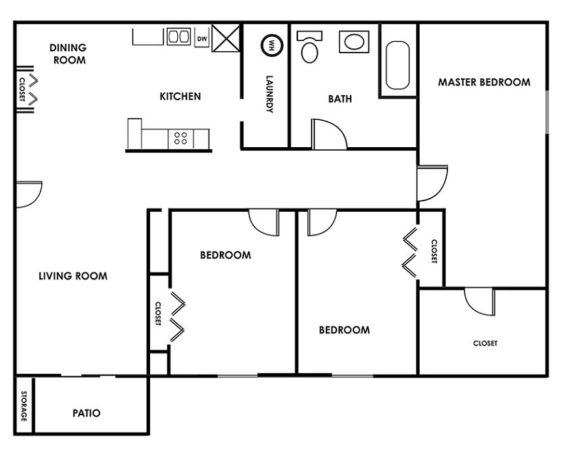 Floorplan - Three Bedroom A image