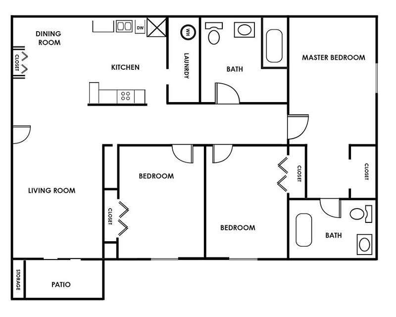 Floorplan - Three Bedroom B image