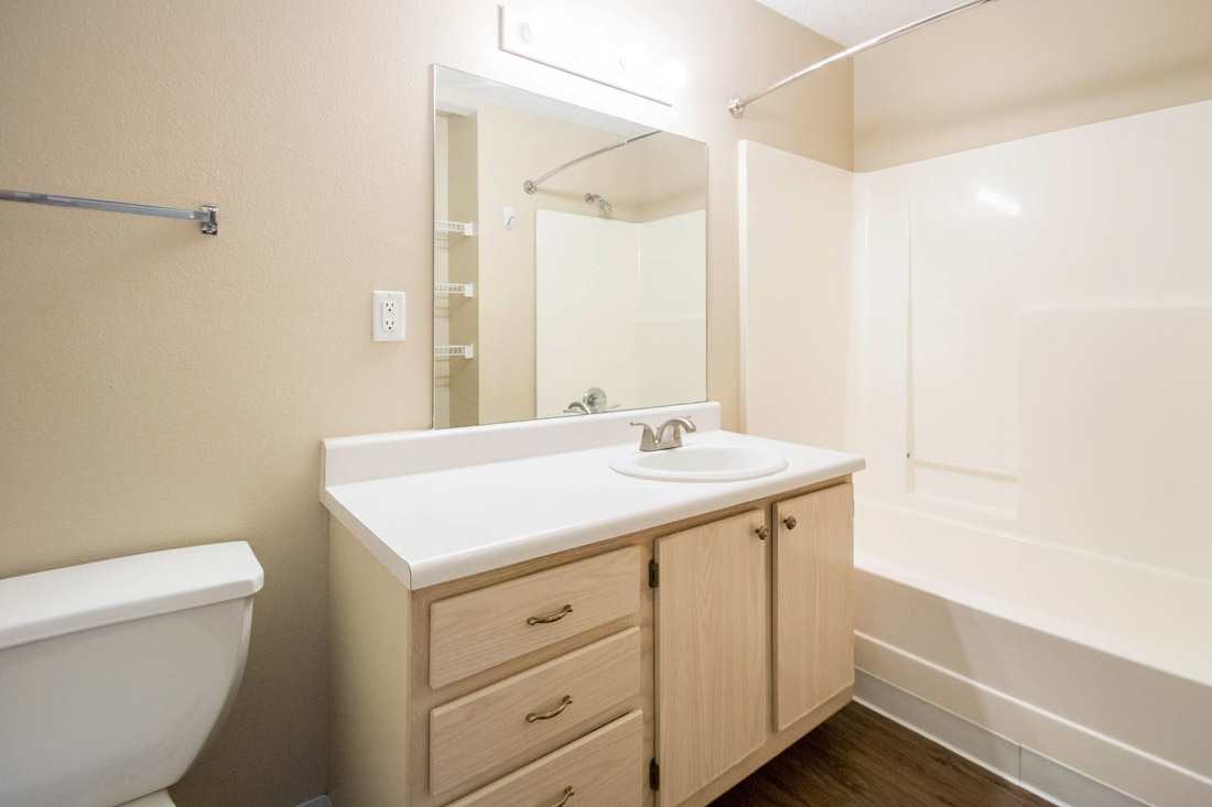 Bathrooms with Storage at Woodbury Heights Apartments in Sioux City, IA