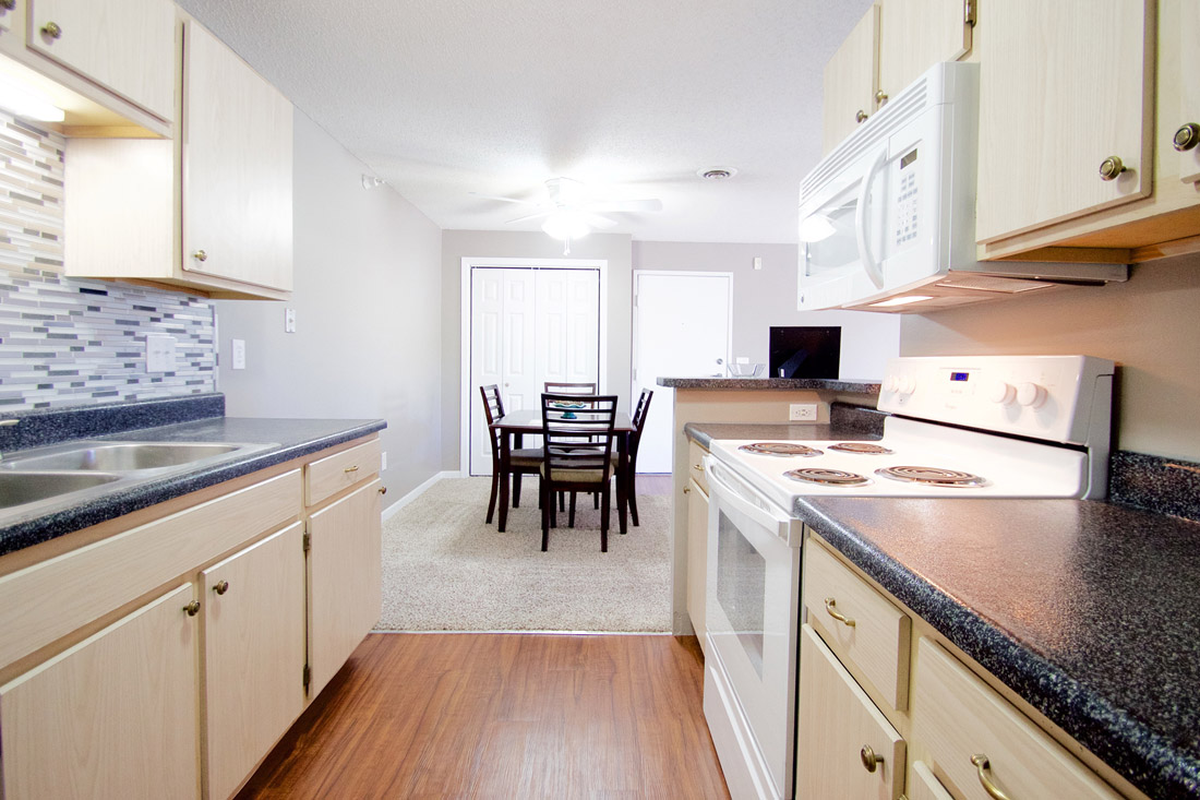 Updated Galley Kitchens at Woodbury Heights Apartments in Sioux City, IA