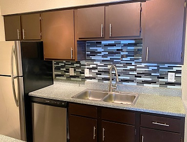 Stylish Kitchen at The Woodlands Apartments in Fort Worth, Texas