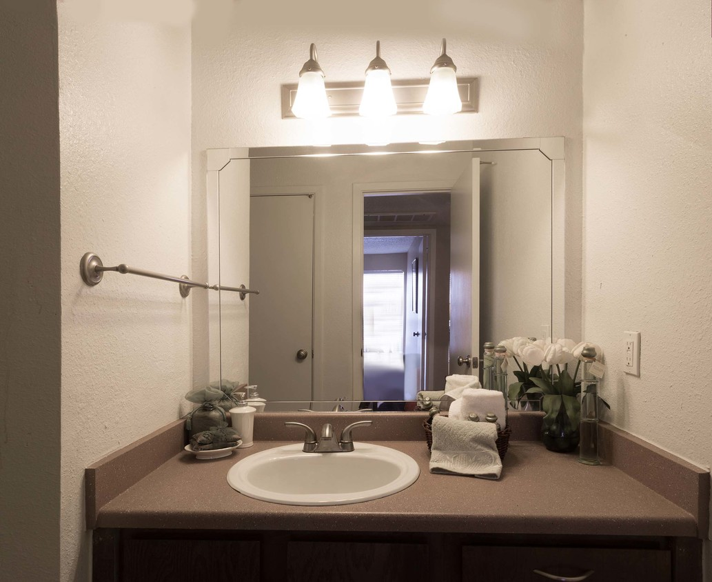 Bathroom Vanity at Woodlands Apartments in Odessa, Texas
