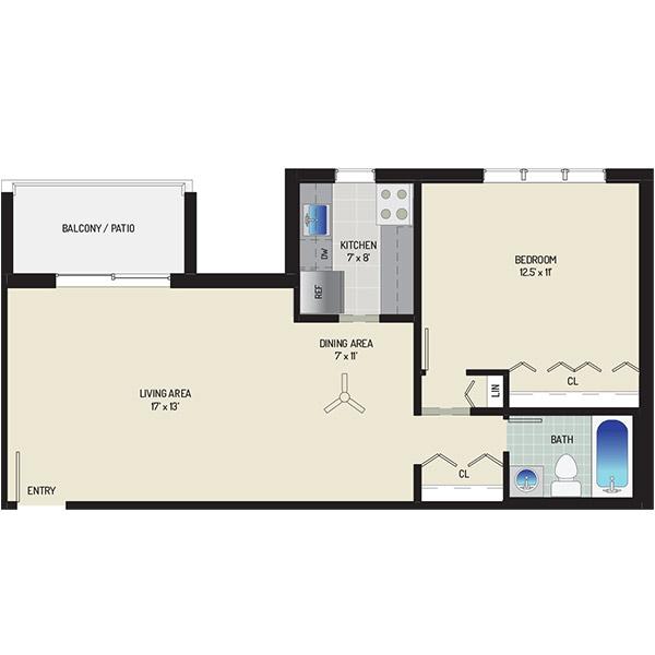 Woodmont Park Apartments - Floorplan - 1 Bedroom + 1 Bath