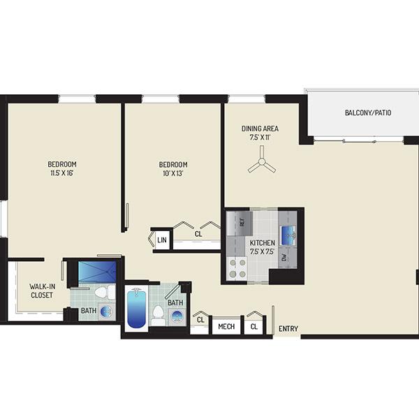 Woodmont Park Apartments - Floorplan - 2 Bedrooms + 2 Baths