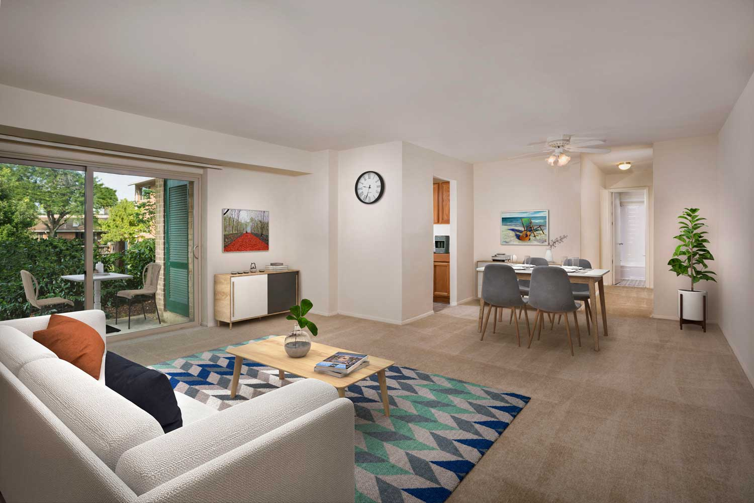 Spacious living and dining area at Woodmont Park Apartments in Alexandria, VA