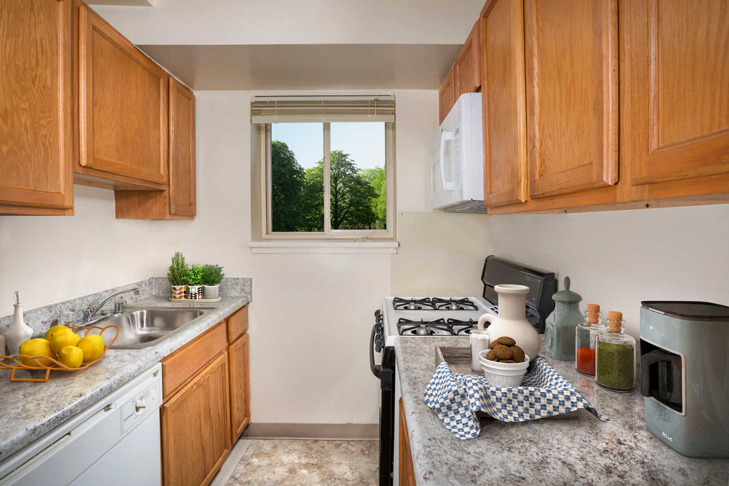 Renovated kitchens available at Woodmont Park Apartments in Alexandria, VA