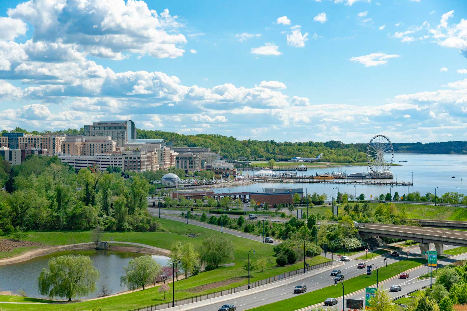 National Harbor is 20 minutes from Woodmont Park Apartments in Alexandria, VA