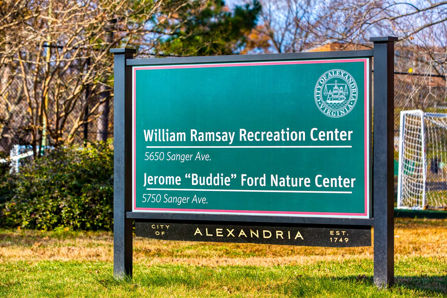 William Ramsay Recreation Center is across from Woodmont Park Apartments
