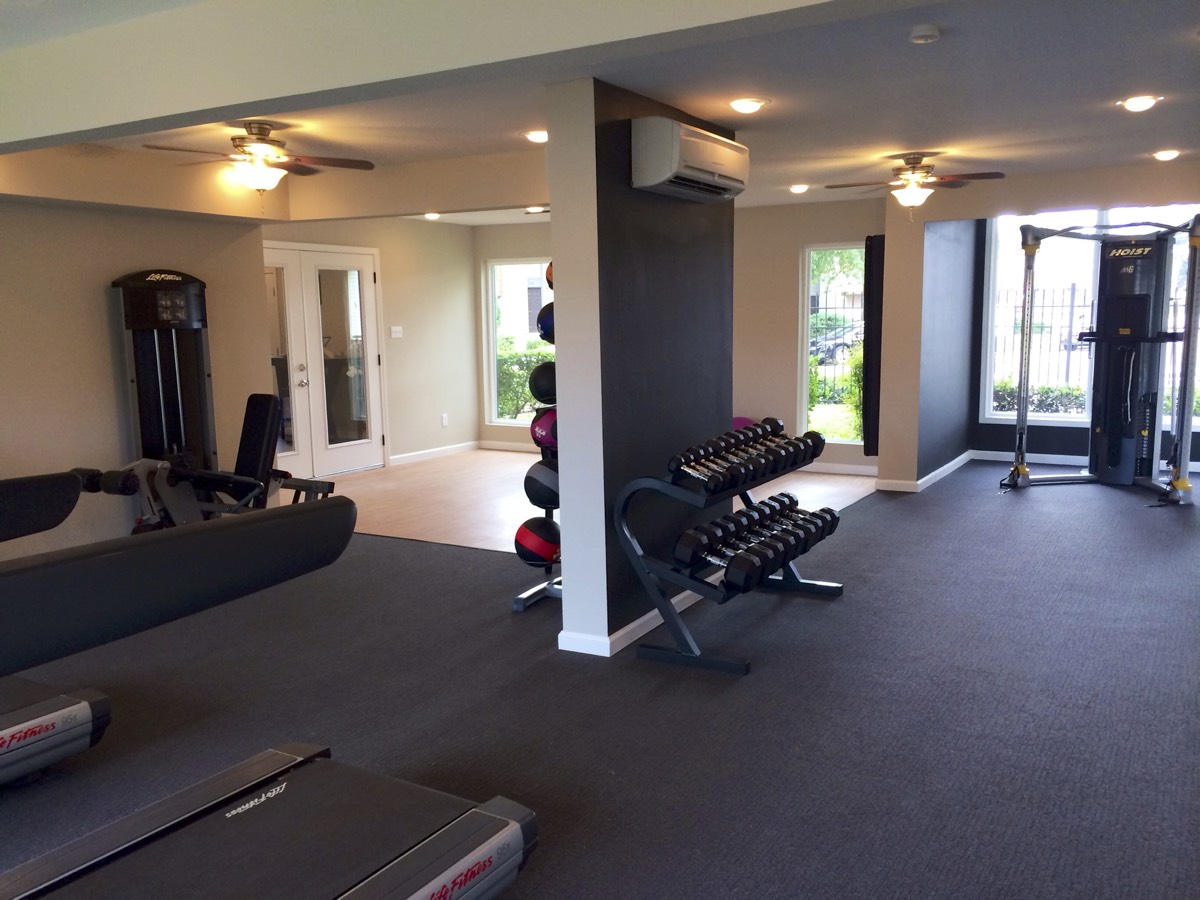 On-Site Fitness Center at Woods at Spring Grove Apartments in Houston, Texas