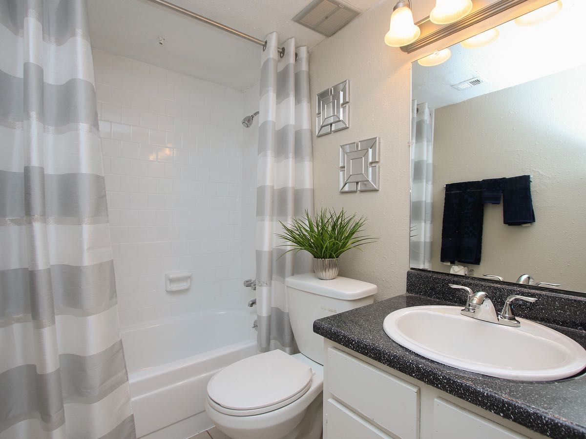 Modern Bathrooms with Vanity at Woods at Spring Grove Apartments in Houston, Texas