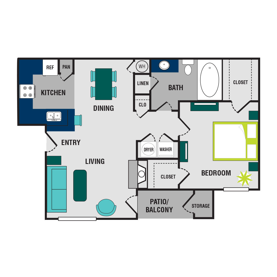 Floorplan - 1 Bedroom - Upgraded image