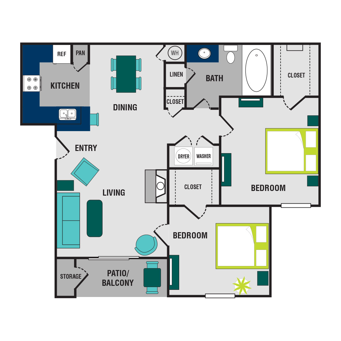 The Wyndham - Floorplan - 2 Bed/1 Bath - Upgraded