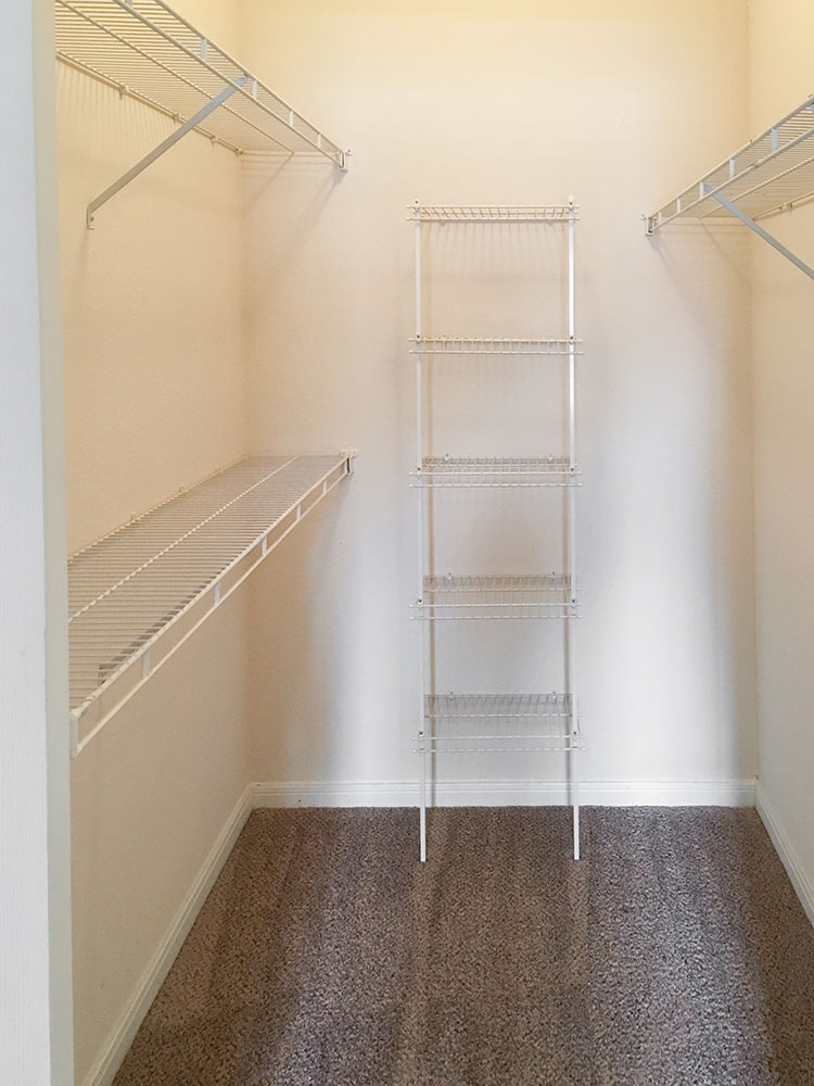 Walk-in Closet at Wyndham Apartments in Lubbock, TX.