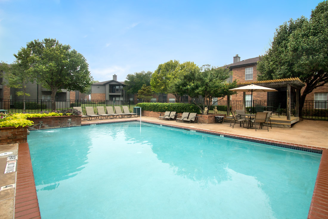 Swimming Pool at Wyndham Apartments in Lubbock, TX.