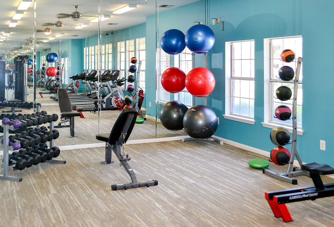 The Fitness Center at The Wyndham Apartments in Lubbock, TX.