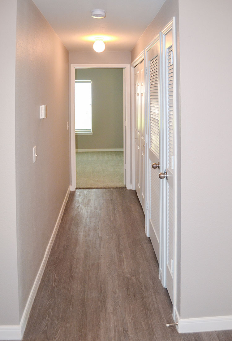 Hallway at Wyndham Apartments in Lubbock, TX.