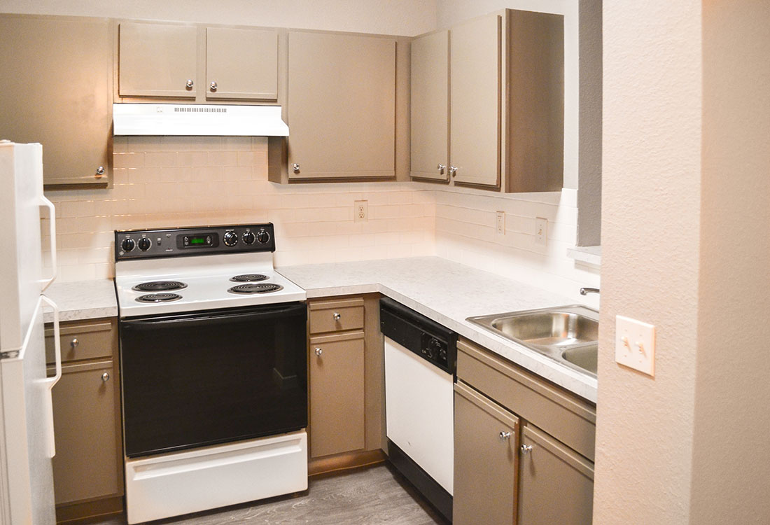 Kitchen at Wyndham Apartments in Lubbock, TX.