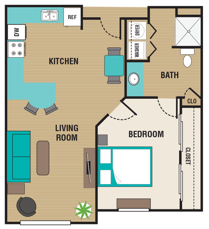 Floorplan - 1 Bed / 1 Bath - 60%HH image