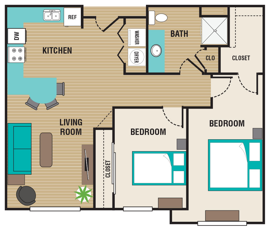 Floorplan - 2 Bed / 1 Bath - 60% image